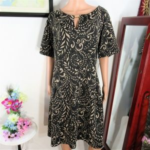 New! Gabby Skye Black/Tan Fit n Flare Print Dress